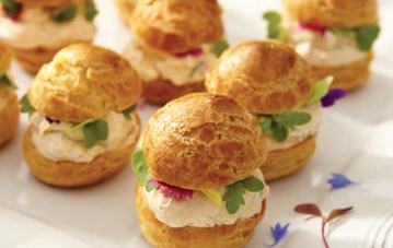 Savoury filled profiteroles